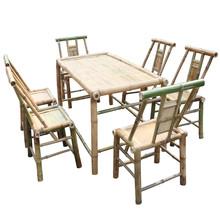 老成都茶馆桌椅竹家具功夫茶竹桌椅竹餐桌餐椅户外长方形桌七件套