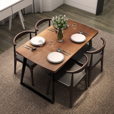 北欧小户型长方形现代简约餐桌椅组合客厅饭桌复古铁艺实木餐桌哪个品牌好