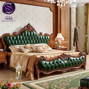 塞瓦那莉别墅欧式实木双人床奢华真皮1.8M雕花橡木大床卧室家具Z3