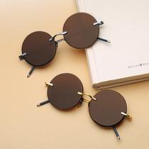 新款时尚金属箭头太阳镜圆形炫彩膜潮流墨镜男女情侣反光眼镜2017