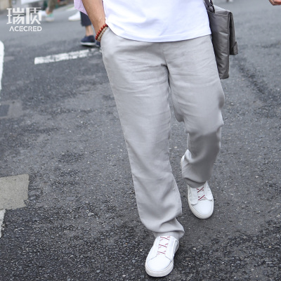 中老年人男装夏季薄款亚麻长裤松紧休闲裤宽松中国风爸爸夏装裤子