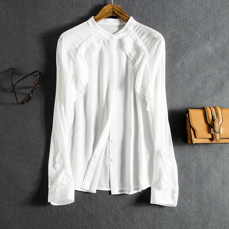 刘涛同款真丝木耳边长袖衬衫蕾丝拼接圆领打底桑蚕丝开衫