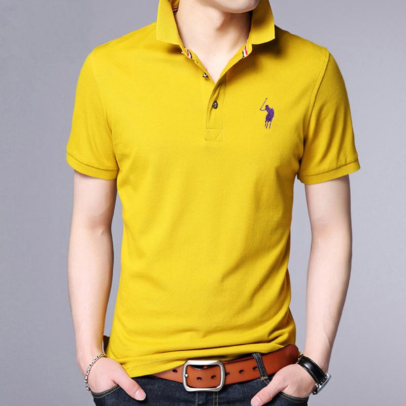 夏季男士翻领纯色短袖t恤纯棉半袖韩版男装polo衫休闲薄款体恤潮