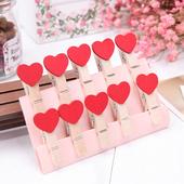创意爱心夹子麻绳木夹子婚礼相片夹照片夹食品夹 买就送麻绳