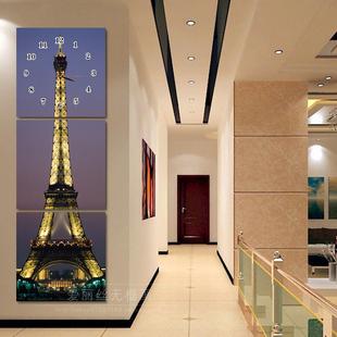无框画挂钟三联画艺术钟表客厅走廊挂钟玄关冰晶玻璃装 饰画 静音