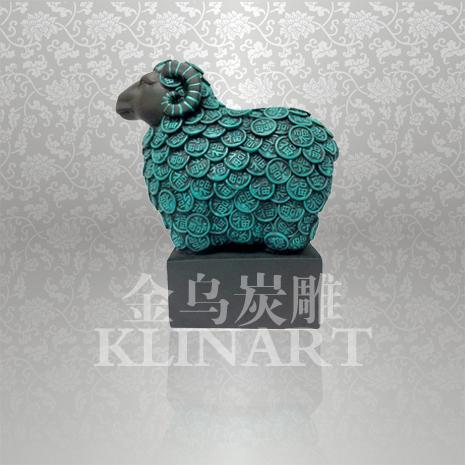 金乌炭雕三羊开泰现代家居客厅装饰品摆设活性炭去甲醛高档工艺品