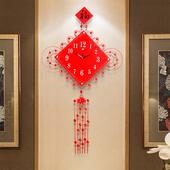 中国结中国风创意客厅挂钟大号中式装饰现代时钟静音石英钟表挂表