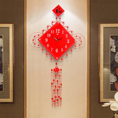 中国结中国风创意客厅挂钟大号中式装饰现代时钟静音石英钟表挂表正品折扣
