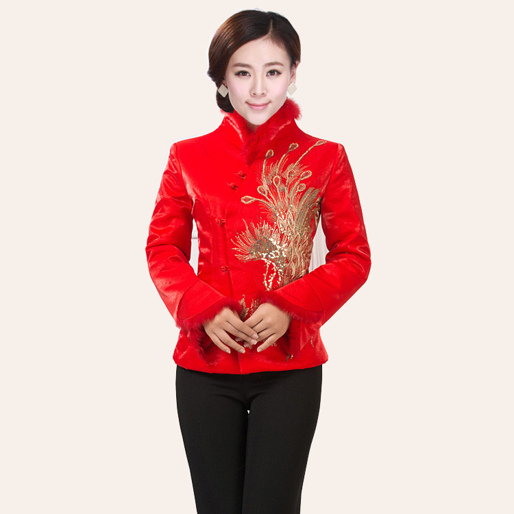 promotion new winter wear ladies Tang suit red dress small cotton jacket classic Tang suit waist Yaofeng embroidery