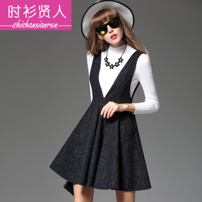 春装新款韩版修身无袖连衣裙毛呢打底背心裙大摆裙时尚背带裙