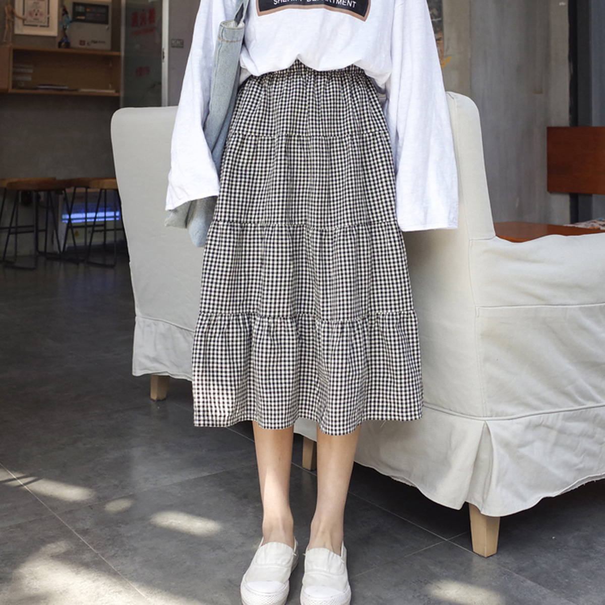 韓版格子半裙
