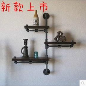 美式乡村铁艺水管复古实木隔板墙上壁挂式书架创意装饰层置物架