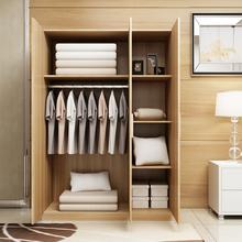 简易三门衣柜实木质板式衣柜组装组合拉门简约现代卧室衣橱3门2门