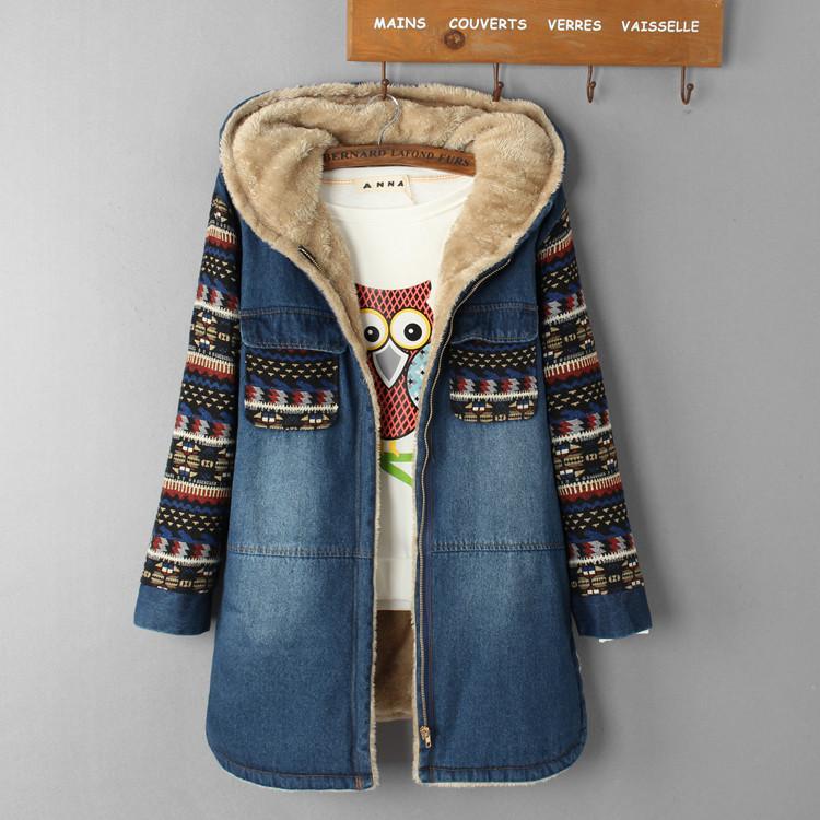 大衣 加绒加厚宽松休闲印花牛仔外套棉衣棉服学院风中长款 女款 冬装