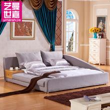 艺曼世嘉 日式韩式榻榻米1.8米双人北欧床现代简约布艺软床864