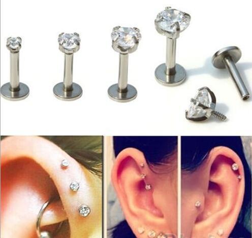 耳骨钉超闪锆石四爪不过敏医用手术 平底耳骨钉耳蜗钉小耳朵唇钉