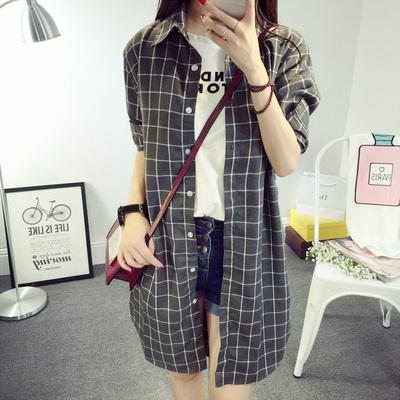 2018秋季新款衬衫女韩版宽松衬衣潮中长款格子显瘦大码寸衫外套潮