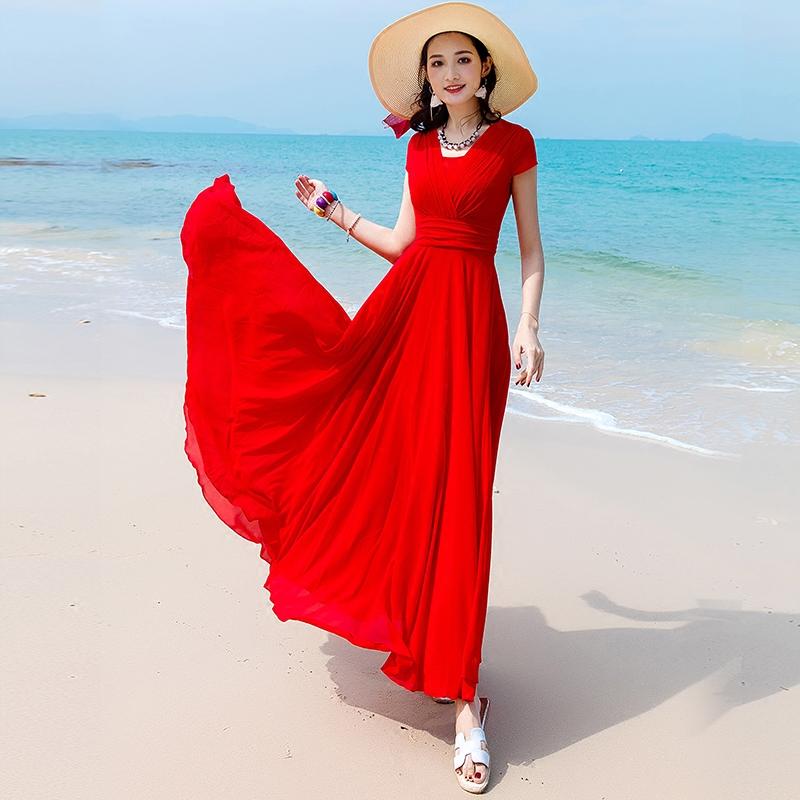 超长款显瘦连衣裙
