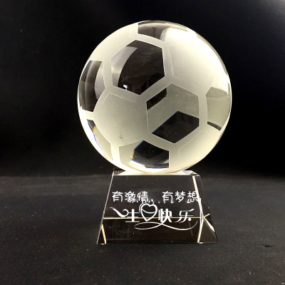 水晶足球模型刻字七夕情人节生日礼物男生创意男孩男朋友男友摆件