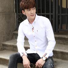 夏季纯色长袖衬衫男韩版休闲男士青少年白色衬衣学生修身寸潮男装