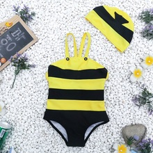 Cute bees, children, conjoined swimsuits, babies, men's and women's swimsuits, baby swimsuits.