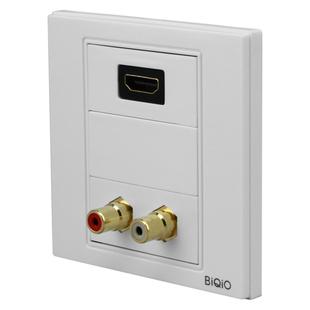 贝桥B2.5-028+600+623+610莲花音频线插座加HDMI2.0直插组合面板