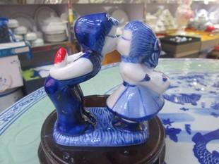景德镇陶瓷创意法式工艺品情侣亲吻娃娃家居饰品摆件