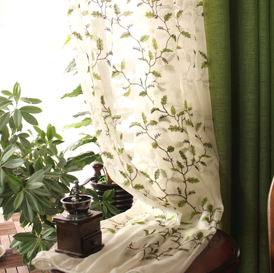 美式乡村亚麻纯色定制窗帘 卧室客厅飘窗遮光布成品窗纱帘北欧风官方旗舰店