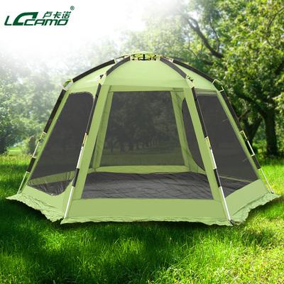 户外六角全自动帐篷伸缩铝杆露营帐篷免搭建双层6-8人大帐篷多人