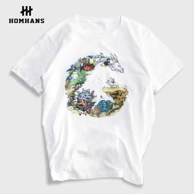 红韩动漫 龙猫 天空之城 千与千寻 男女款日系文艺短袖T恤