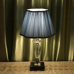 摩菱台灯卧室床头 简约现代 高档时尚LED布艺蓝色水晶台灯礼物