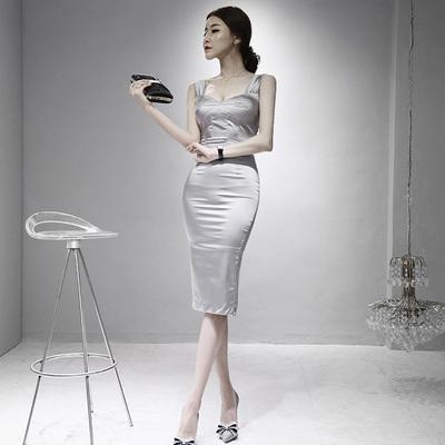 漫天飞扬2017新款夏装连衣裙修身包臀气质名媛OL性感女装低胸中裙