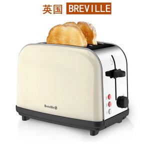 英国Breville不锈钢全自动多士炉吐司机土司机2片烤面包机早餐机
