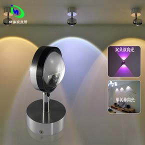 简约LED壁灯过道灯水晶灯背景墙灯客厅卧室床头灯双头射灯明装
