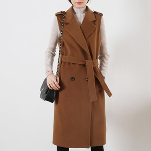 春秋新款中长款马甲女毛呢外套韩版显瘦驼色羊绒呢西服马夹女百搭