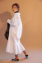 日系宽松大码衬衫女装长袖白色长款连衣裙鱼尾胖妹妹胖MM200斤160
