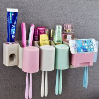 Toothbrush rack bathroom wall-mounted toothbrush holder wall hanging brush cup rack free punching cup set