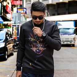 GxxH潮牌加肥加大長袖衛衣打底衫寬松個性印花大碼男裝T恤上衣