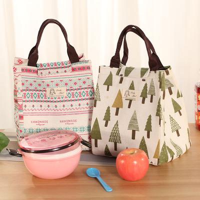 大号日本防水手提饭盒袋子小学生保温便当包带饭装午餐拎包棉麻包