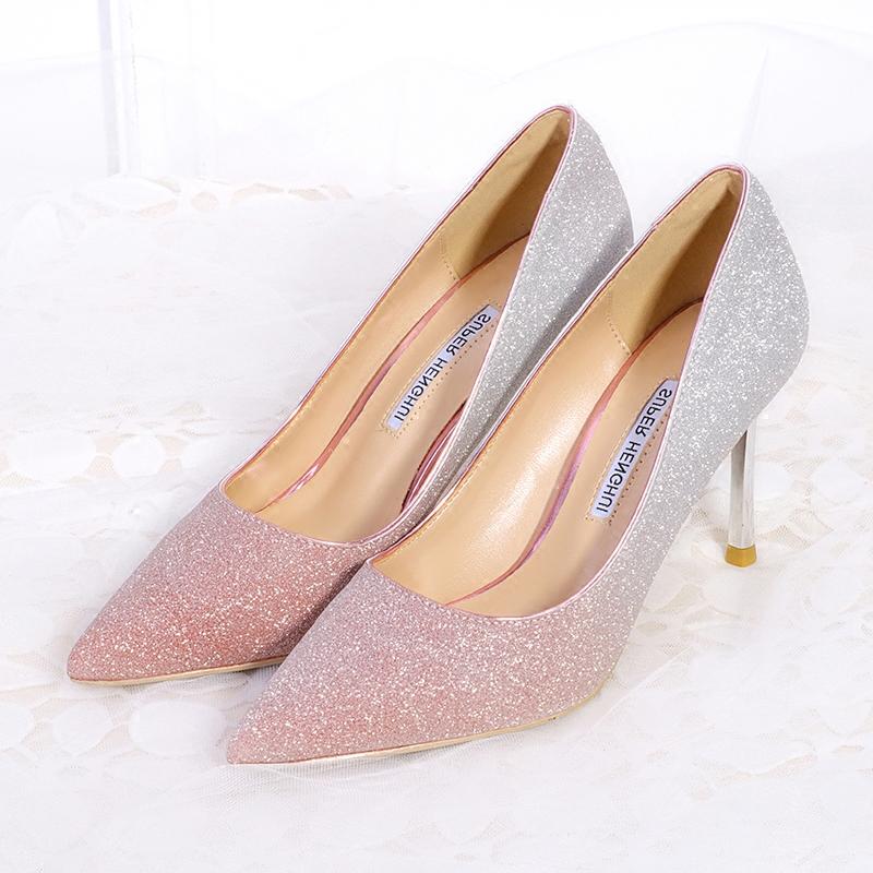 新款渐变亮片高跟鞋女细跟尖头.