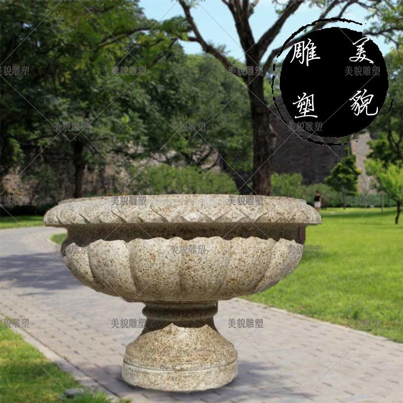 石雕花盆花岗岩