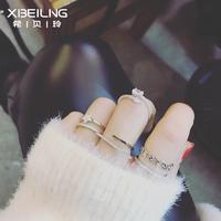 日韩版新款潮人时尚百搭几何开口戒指指环个性简约欧美气质饰品女