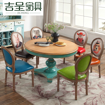 吉呈美式实木圆形餐桌椅组合北欧小户型饭桌欧式简约家用大圆桌子爆款