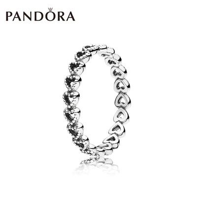 PANDORA潘多拉心心相连925银戒指190980爱心时尚简约叠戴饰品女