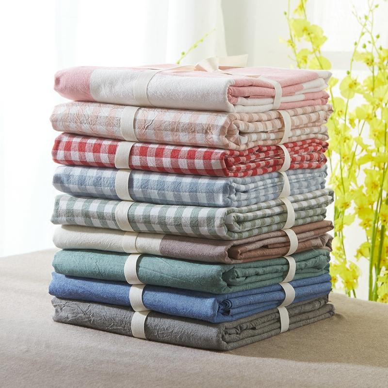 水洗棉全棉格子床单
