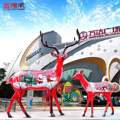 金传承仿真彩绘梅花鹿玻璃钢雕塑圣诞鹿摆件园林庭院动物雕塑摆设