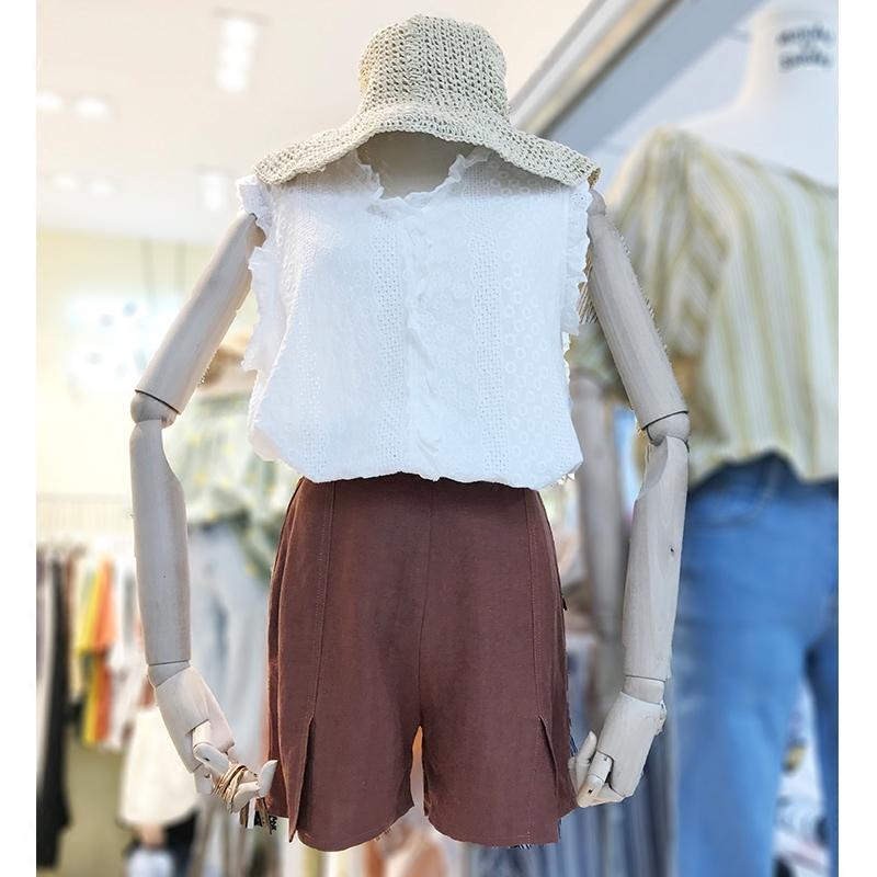 夏套装韩版大码女装胖MM套装女宽松刺绣荷叶边背心+阔腿棉麻短裤