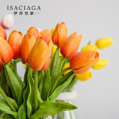 伊莎世家 赛基司迷你仿真郁金香假花 拍摄道具手把花室内装饰花束