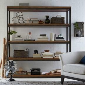 欧式铁艺实木置物架靠墙多层书架做旧隔板架层架卧室收纳架整理架