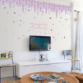 可移除壁纸卧室客厅电视墙背景装饰墙纸贴画墙贴自粘浪漫紫藤花朵